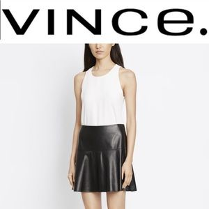 VINCE Black Leather Skirt Size 6